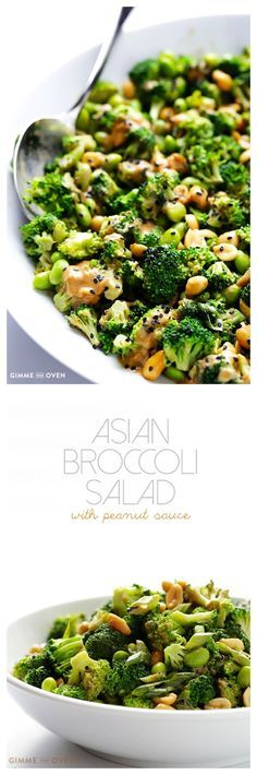 Asian Broccoli Salad with Peanut Sauce -- made easy with just a few ingredients, and naturally #glutenfree, #vegan, and SO tasty! | http://gimmesomeoven.com