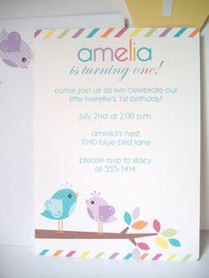 bird birthday invitations with matching envelopes