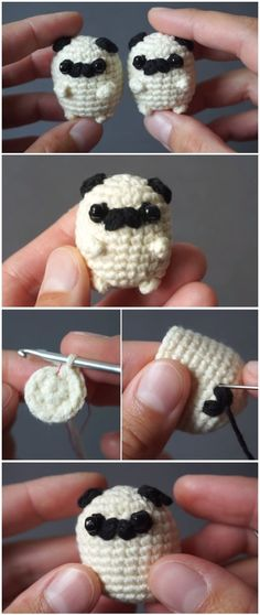 Häkeln Sie Baby Mops Amigurumi - Crochet&Knit - Leads For Amigurumi Crochet Gratis, Crochet Amigurumi, Cute Crochet, Amigurumi Patterns, Beautiful Crochet, Crochet Toys, Knitting Patterns, Knit Crochet, Crochet Patterns