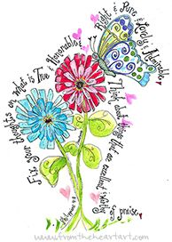 Butterfly and Zinnia Print (Philippians 4:8)