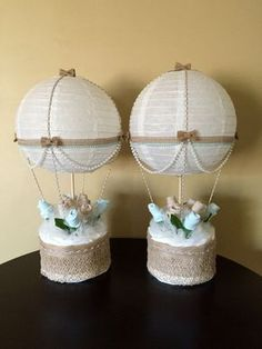 Elegant Baby Gift Basket Idea Hot Air Balloon- Baby Shower Table Centerpiece – Nursery Décor – Hospital Gift - Disposable Diaper Basket - Sock Roses - Custom Baby Shower #giftbaskets