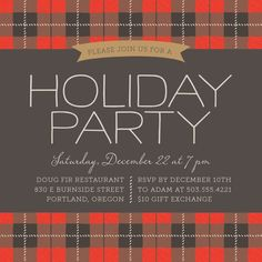 Tartan Plaid Christmas Party Invitation