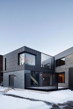 Résidence McCulloch by _naturehumaine[architecture design] Montreal, Canada Black zinc cladding. Vertical steel screens create intimacy on the street angle while revealing Mount Royal's forest behi Architecture Design, Minimalist Architecture, Residential Architecture, Contemporary Architecture, Zinc Cladding, House Cladding, Facade House, External Cladding, Beautiful Modern Homes