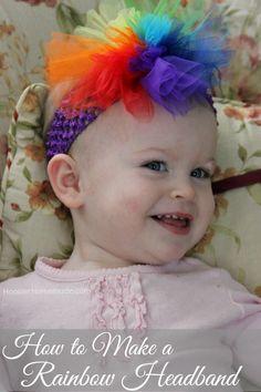 How to Make a Rainbow Headband Instructions on Tulle Headband, Rainbow Headband, Rainbow Tutu, Tulle Bows, Rainbow Baby, Ribbon Bows, Baby Headbands, Tulle Tutu, Tulle Flowers