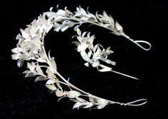 1900 Real Silver Art Nouveau Wedding Tiara Vintage Antique Corsage Garland Grecian Boutonniere Bridal Headdress Myrtle Flowers Heirloom. $2,400.00, via Etsy.
