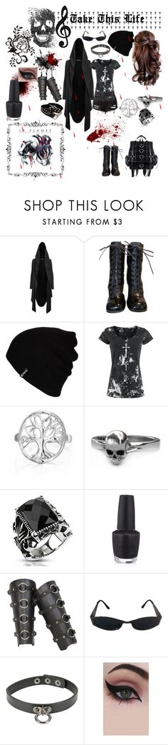 """Take This Life"" by amyblack777 ❤ liked on Polyvore featuring Luichiny, Hurley, Alchemy England, Bling Jewelry, West Coast Jewelry, Bibi, OPI, Versace, Hot Topic and Concrete Minerals"