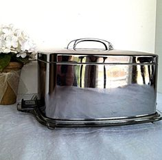 Vintage Mid Century Square Chrome Cake Carrier