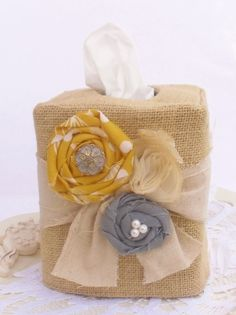 One of a kind design.  Burlap rolled rosette tissue box cover by headtotoe2009 on Etsy, $18.00