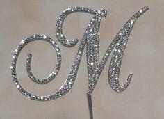 "5"" Tall Acrylic Monogram Wedding Cake Topper Czech Crystals Rhinestone Letter A B C D E F G H I J K L M N O P Q R S T U V W X Y Z"