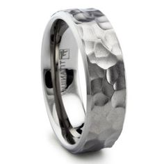 Titanium Hammered Wedding Band Matte Finish, 8MM Mens Wedding Ring, Womens Wedding Ring, Anniversary Ring, Titanium Ring on Etsy, $52.00