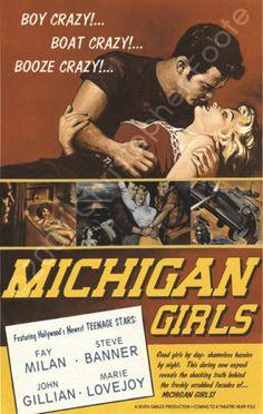 Michigan Girls Vintage 1950s Style Pulp Movie Poster | eBay