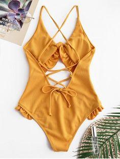 ZAFUL Ruffle Ribbed Lace-up Cutout traje de baño - Oro Anaranjado S Cut Out Swimsuits, Women's One Piece Swimsuits, Cute Swimsuits, One Peice Bathing Suits, Cute Bathing Suits, Orange Swimsuit, Ruffle Swimsuit, Trendy Bikinis, Summer Outfits