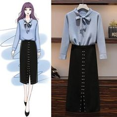 Women's autumn and winter slimming sweater two-piece suit Fashion Drawing Dresses, Fashion Illustration Dresses, Fashion Dresses, Fashion Design Drawings, Fashion Sketches, Ulzzang Fashion, Korean Fashion, Mode Kpop, Dress Sketches