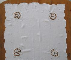 Small Tablecloth Ecru Open Cutwork Cream by mailordervintage