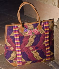 Bon voyage! Leather trimmed suitcase made from traditional Mayan blouse fabric ** Altiplano