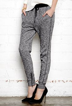 I find joggers to be the perfect type of pants to wear on those lazy days where you want to feel comfortable, but still look great. The joggers in the photo have been paired with some black heels, which I think is gorgeous. The two pieces contrast and compliment each other.