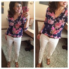 White jeans, floral top, and my magenta rayne necklace!