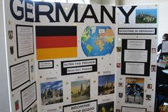 Germany World Thinking Day Board - Section on Scouting in Germany on the right, and other German fun facts, women in sports and politics. Girl Scout Swap, Daisy Girl Scouts, Girl Scout Troop, Brownie Girl Scouts, Cub Scouts, Gs World, World Days, Germany For Kids, Girl Scout Activities