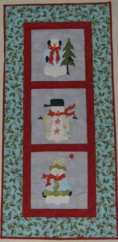 Christmas Snowman Pastels Quilted Wall Hanging by HollysHutch