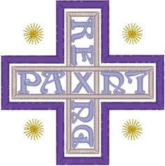 """Rex-Lux-Dux-Pax Cross Embroidery Design. This design translates from Latin to English as """"King-Light-Lord-Peace"""" and was designed by Rudolf Koch (1876-1934), a leading German calligrapher, typographic artist and teacher."""