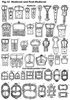 buckles of medieval and renaissance Medieval Belt, Metal Detecting Finds, Leather Armor, 14th Century, Metal Buttons, Archaeology, Belt Buckles, Metal Working, Poster