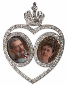 Portrait of Grand Duke Vladimir and his wife Grand Duchess Maria Pavlovna for their wedding anniversary. 1904 Faberge Diamond and Platinum Imperial Presentation Pendant Lausanne, Faberge Jewelry, Belle Epoque, House Of Romanov, Miniature Portraits, Grand Duke, Faberge Eggs, Imperial Russia, Royals
