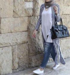 denim skirt hijab style-Colorful casual summer wear – Just Trendy Girls Islamic Fashion, Muslim Fashion, Modest Fashion, Fashion Outfits, Fashion Muslimah, Emo Fashion, Casual Hijab Outfit, Hijab Chic, Kimono Outfit