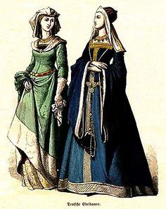 Plate #23c - First Half of the Fifteenth Century      German Noblewomen