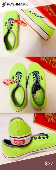 Vans Authentic sneakers Brite Neon Green- women 6 No offer ⛔️⛔️ Brand new in box Authentic from Vans  Women size 6 Shoes Sneakers