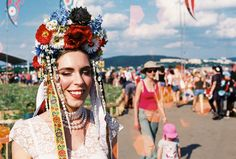 "Photo from festival Pohoda by Rado Režný.  Slavic flower crown ""parta"" by me.  #slavic #folk #parta #flowercrown #headdress #handmade #bycajova #pohoda #festival #Slovakia #analog #lomography #Trencin #cajova #ethnic"
