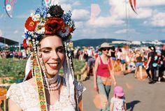 "Photo from festival Pohoda by Rado Režný.  Slavic flower crown ""parta"" by me.  #slavic #folk #parta #flowercrown #headdress #handmade #bycajova #pohoda #festival #Slovakia #analog #lomography #Trencin #cajova #ethnic"