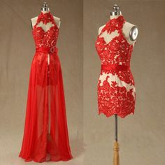 High neck lace prom dress