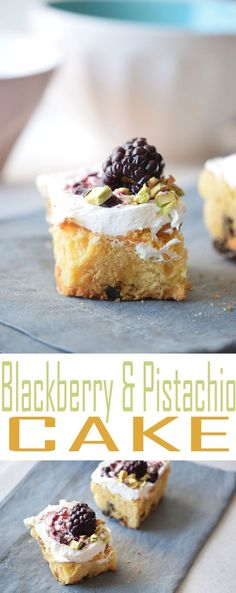 blackberry-and-pistachio-cakeBlackberry and Pistachio Cake Squares are a fun and tasty dessert recipe that is perfect for serving up at a weekend get together.