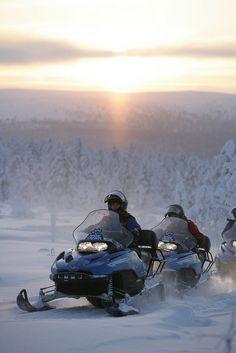 Snowmobiling in Saariselkä, Finland by Visit Finland, via Flickr Cabins and activities in Saariselkä http://www.saariselka.com