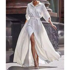 Button Down Collar Roll Up Sleeve Half Sleeve Maxi Dressesmaxi dress summer,maxi dress outfit,maxi dress casual, Long Sleeve Maxi, White Long Sleeve, Maxi Dress With Sleeves, The Dress, Shirt Dress, Dress Long, Dress Formal, Chiffon Dress, White Chiffon