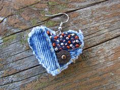 Earring Heart-Shaped Recycled Denim di daringmisslassiter