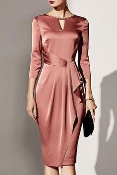Boat Neck Plain Bodycon Dress - Women's style: Patterns of sustainability Elegant Dresses, Pretty Dresses, Beautiful Dresses, Casual Dresses, Dresses For Work, Formal Dresses, Wedding Dresses, Awesome Dresses, Tight Dresses
