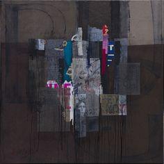 """""""...et tout se brouille"""" collages & techniques mixtes sur toile - 2016 - 100 x 100cm"""