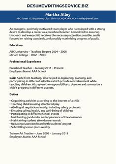 16 Best Preschool Teacher Resume Images In 2019 School Preschool