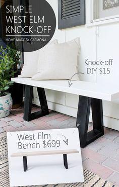 West Elm Slab Bench Knock-off