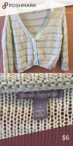 Charlotte Russe cardigan Kinda short, I think it's meant to end at the hip or just above the hip. I wore it once. Don't know how to describe the color, kind of like a very light teal or baby blueish Charlotte Russe Sweaters Cardigans