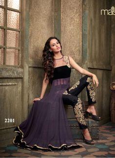 Most Beautiful Purple Net and Georgette Designer Anarkali
