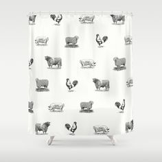 Farm Animals Black White Shower Curtain