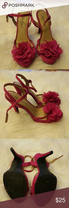 Carrie Bradshaw Pink Petal Pumps Gorgeous showstopper fushia heels with flower embellishment. Very a la Carrie Bradshaw. Super comfortable and worn once for a photo. Purchased from DSW. 4 inches. Open to any and all offers.  Lulu Townsend Shoes Heels