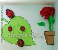 Spring wall decoration with lady bugs