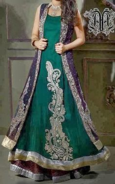 Bottle Green Front Open Gown Style Long Dress - Buy Latest Pakistani Bridal Fashion Dresses for Bride 2020 Prices Pakistani Wedding Dresses, Pakistani Bridal, Pakistani Outfits, Indian Dresses, Indian Outfits, Bridal Dresses, Pakistani Clothing, Collection Eid, Couture Collection