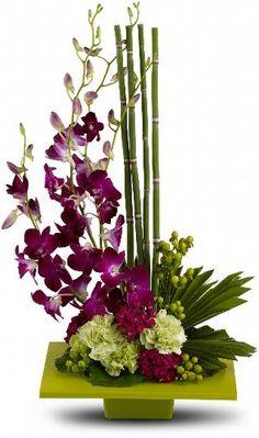 Um prato quadrado cor-de-kiwi apresenta um arranjo de orquídeas roxas dendrobium, cravos verdes, rosa escuro Doce William, hypericum verde, uma folha de palmeira esmeralda, Equisetum bambu, folhas galax e folha de musgo.
