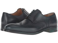 a. testoni Amedeo Testoni Hand Painted Wing Tip Oxford Bottle Green - 6pm.com