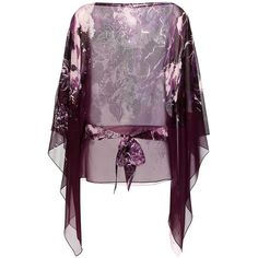 Roberto Cavalli Printed Silk Blouse (€535) ❤ liked on Polyvore featuring tops, blouses, purple, silk blouses, purple blouse, silk top, purple top and roberto cavalli blouse