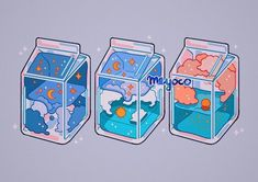 credit to meyoco Arte Do Kawaii, Kawaii Art, Kawaii Drawings, Cute Drawings, Aesthetic Anime, Aesthetic Art, Milk Drawing, Desenhos Gravity Falls, Milk Art